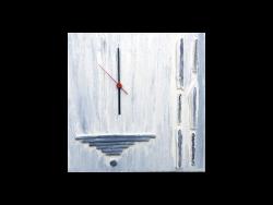 Wandbild Grau-klein mit Uhr