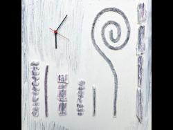 Wandbild Schnecke mit Uhr
